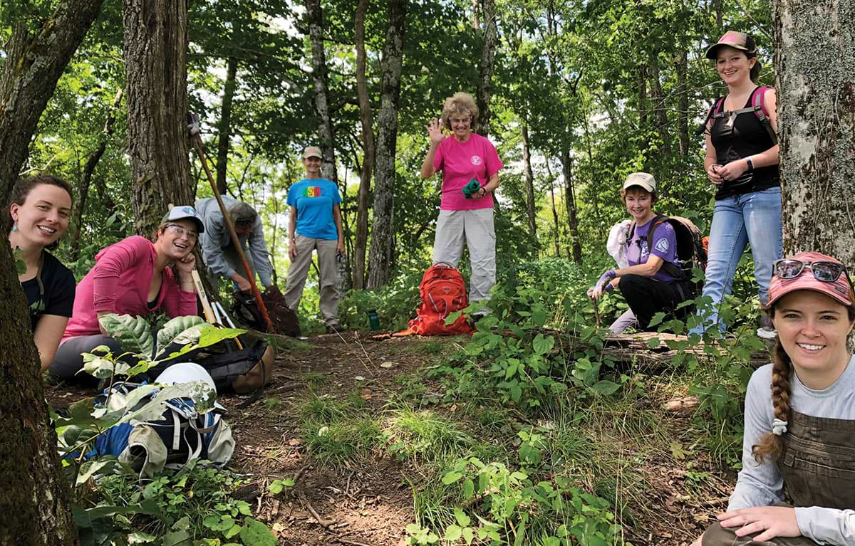 Enjoying a lunch break during the Wild East Women's Work Day (author is standing at right)