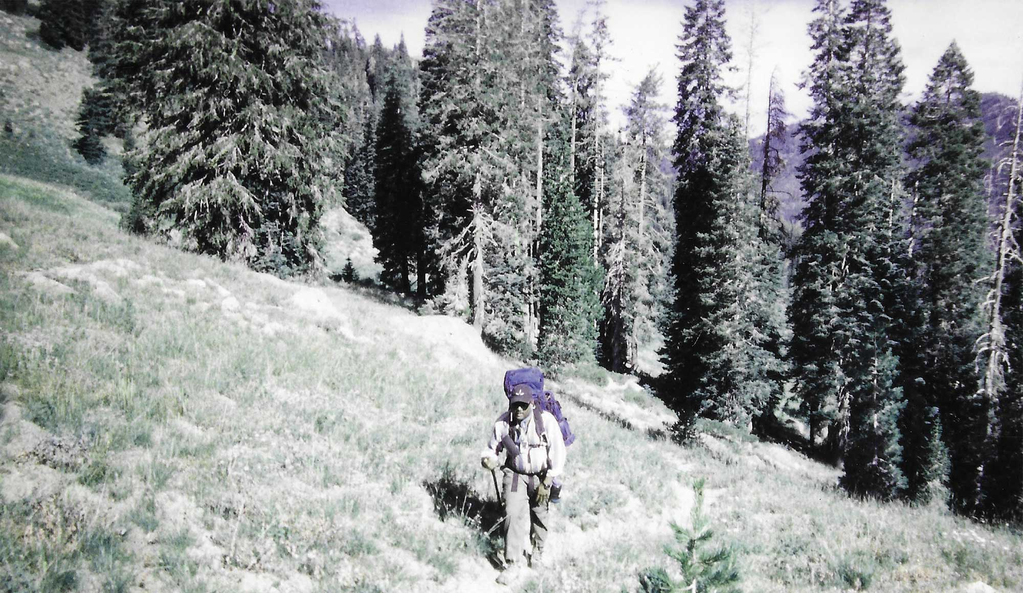 Fred Tutman hiking in the Trinity Alps in northern California